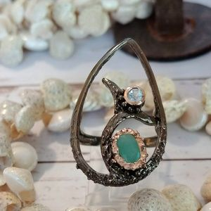 Jewelry - Dolphin Play Emerald & Aquamarine Ring